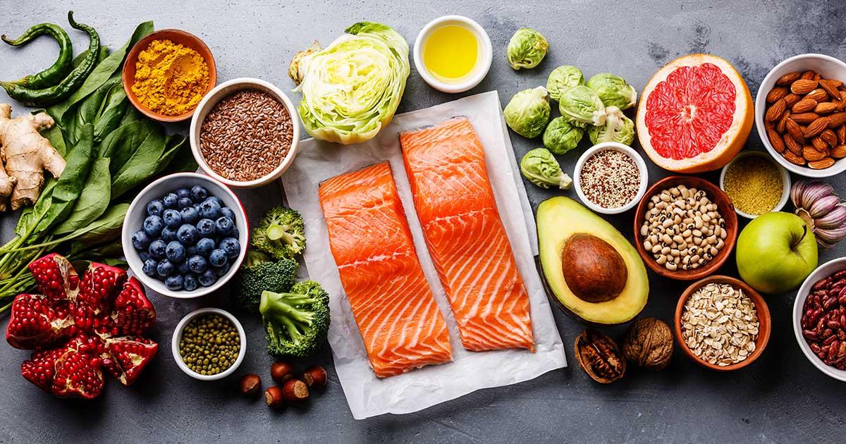 Fish, fruit, vegetables, seeds, superfood, cereals, and leaf vegetables