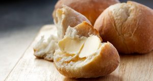 Buttered bread roll