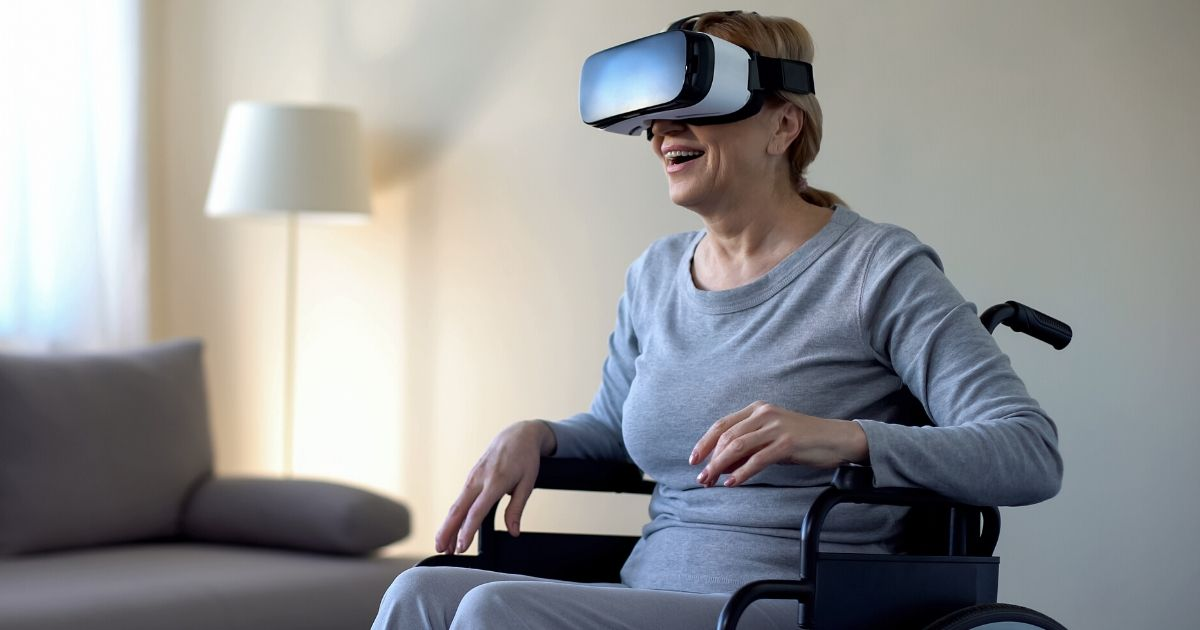 woman wearing a VR headset